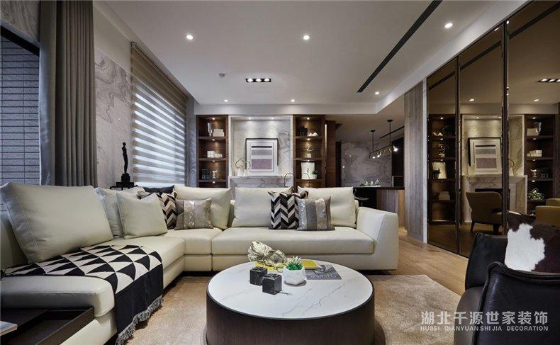 100平方家装案例丨宽敞客厅+前卫厨房,为安宁的现代风定下基调【宜昌装修】